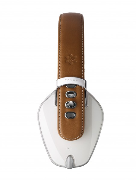 Pryma Leather Over-Ear headphones in Coffee & Cream side view
